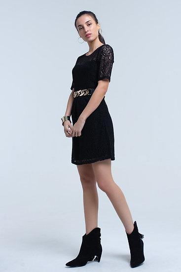 Women's Black Lace Short Sleeve Dress