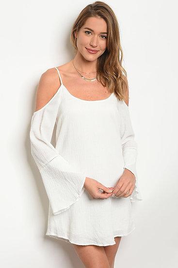 Womens White Long bell sleeve scoop neck tunic Dress