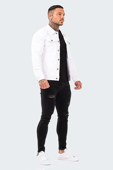 Men's Distressed Denim Jacket - White