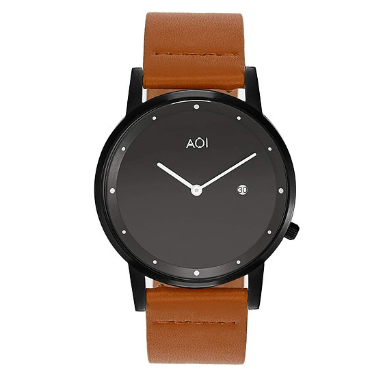 Womens OKAYAMA | 1.4 Watch in Black With Premium Leather Band in Tan