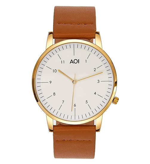 Womens KOBE | 3.3 Watch in Gold With Premium Leather Band in Tan