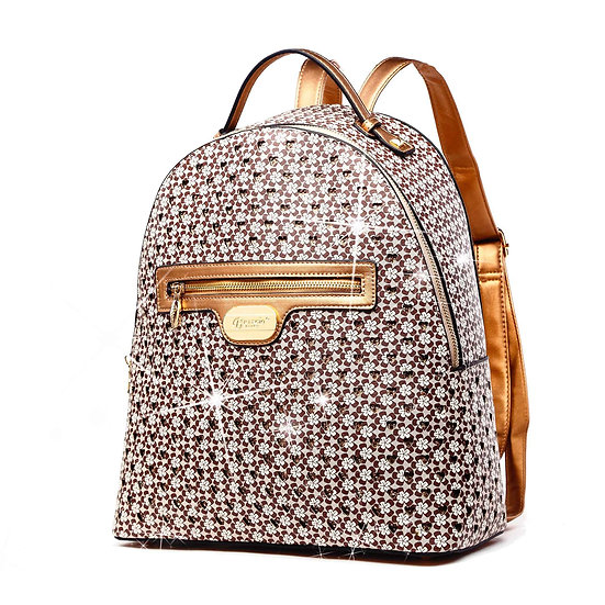 Galaxy Stars Women's Backpack Purse Anti Theft Bag - Earth Brown
