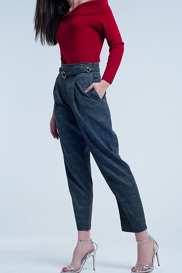 Womens Dark Grey Pants in Pique Fabric With Belt