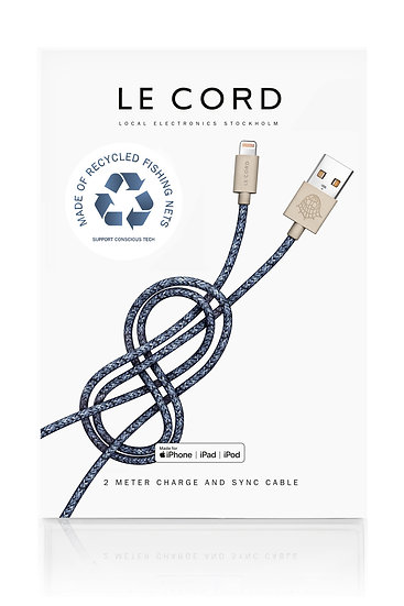 Sustainable iPhone Charging Cord - Made of Recycled Fishing Nets - Bleu