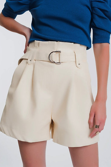 Womens Leather Look Short With Pockets and Paperbag Waist