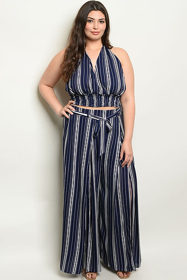 Womens Navy Stripes Plus Size Top & Pants Set