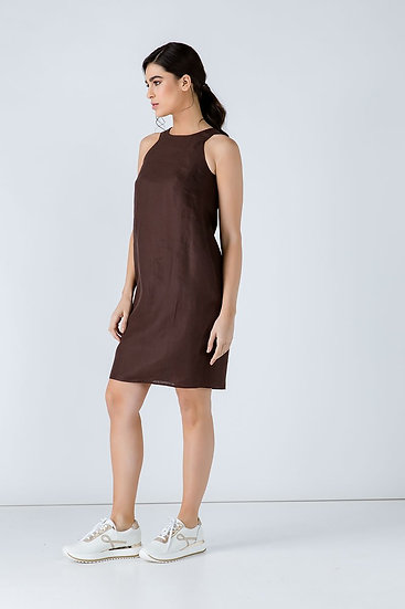 Women's Linen Brown Colour Sleeveless Sack Dress