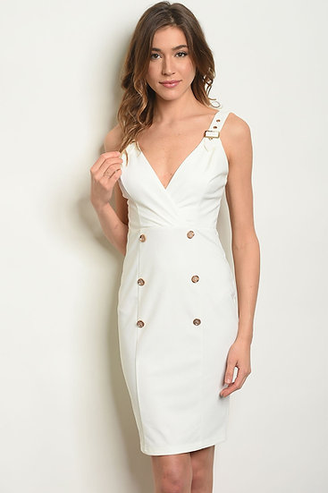 Women's Ivory Dress Sleeveless V-neck With Button Detail
