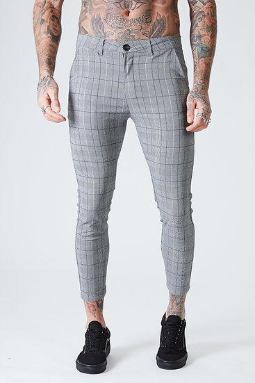 Men's Skinny Cropped Check Trousers - Grey