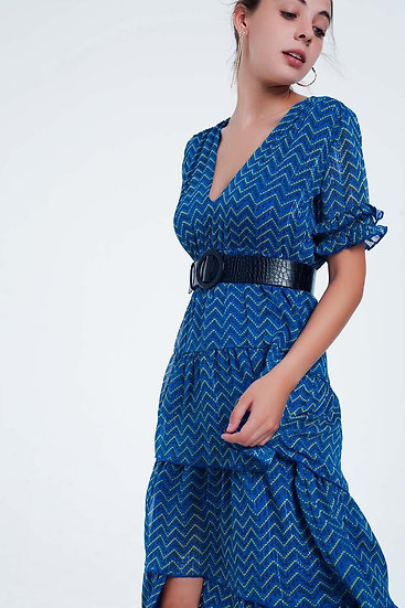 Blue Tiered Maxi V-neck and stepped ruffles Belt included Dress