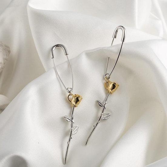 Kumi Paperclip Rose Earrings - 925 Silver / Gold