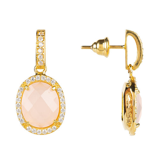 Women's Beatrice Oval Gemstone Drop Earrings Gold Rose Quartz