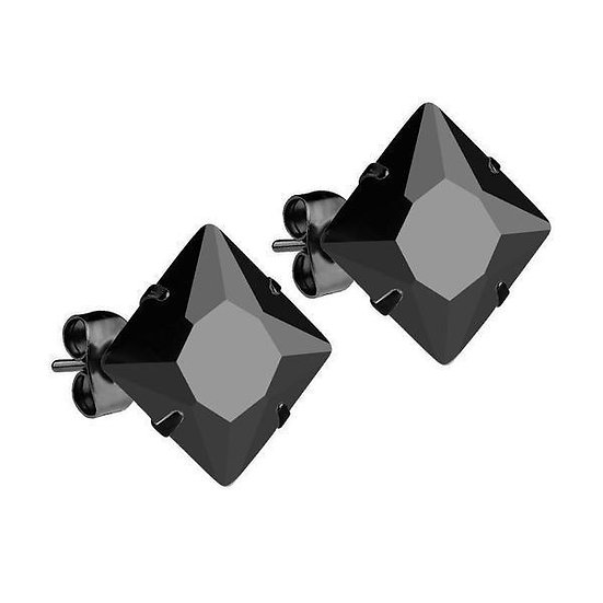 Mister Square Black Stud Earrings with Black Onyx Gemstone