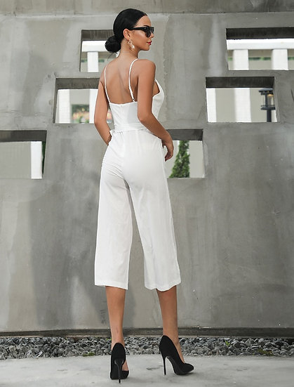Women's Casual Capri Jumpsuit in White