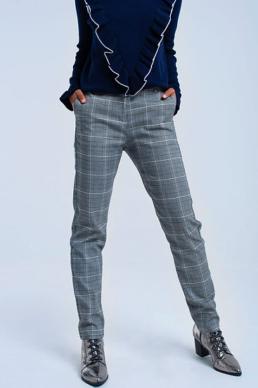 Womens Gray Tartan Pants
