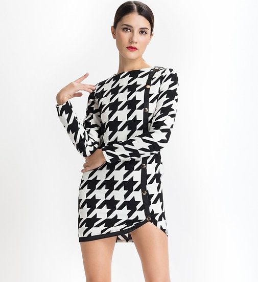 Stylish Large Houndstooth Mini Dress with Button Detail