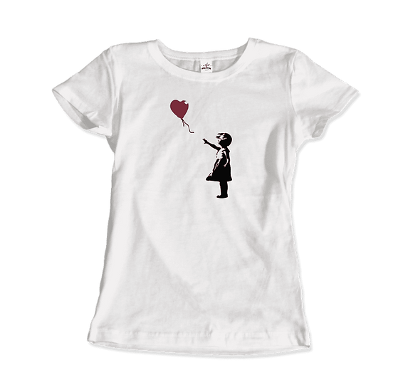 Women's Banksy the Girl With a Red Balloon Artwork T-Shirt