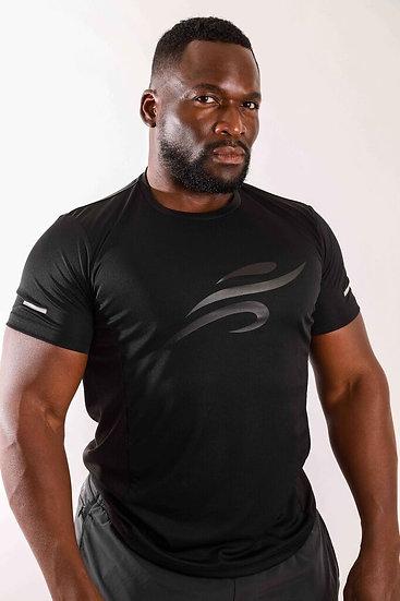 Men's Robert Short Sleeve Activewear Shirt With Reflective Logo - Black