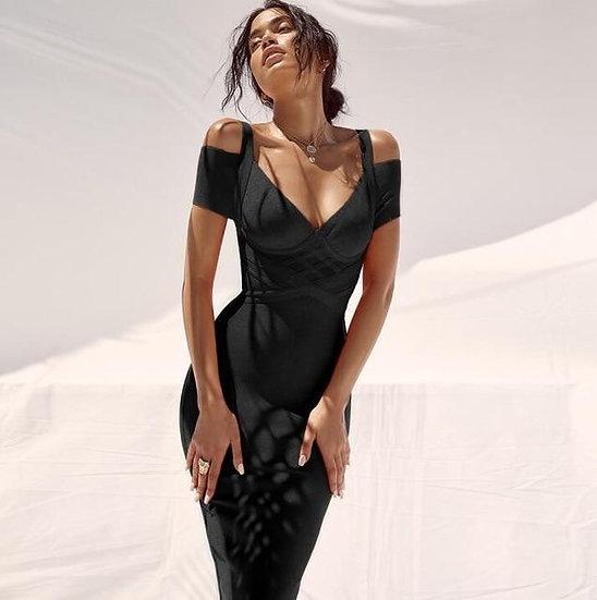Women's Summer Off The Shoulder Bandage Dress in Black