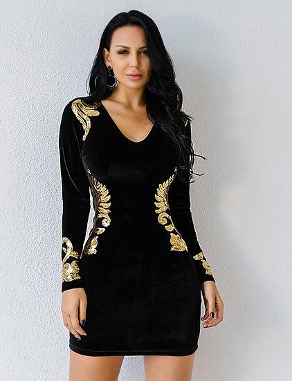 Women's Black Velvet Sequin Embellished Cocktail Party Dress