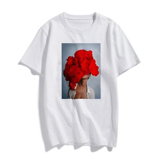 Womens Tsubaki Peony Printed T-Shirt Short Sleeves
