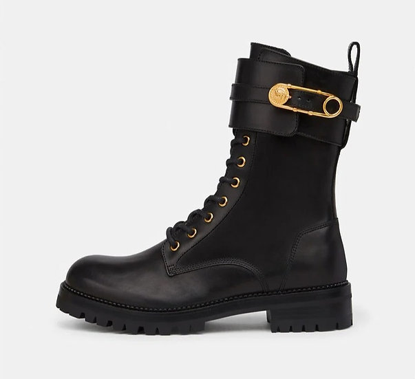 Women's Shoes   VERSACE Safety Pin Leather Boots