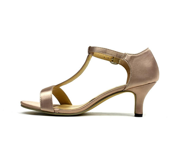 Womens Open Toe Satin Sandal Rose Gold With Buckle