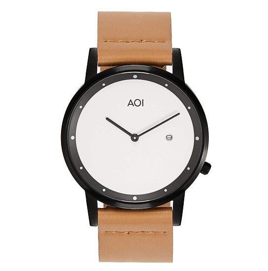 Womens OKAYAMA   2.6 Watch in Black With Premium Leather Band in Fawn