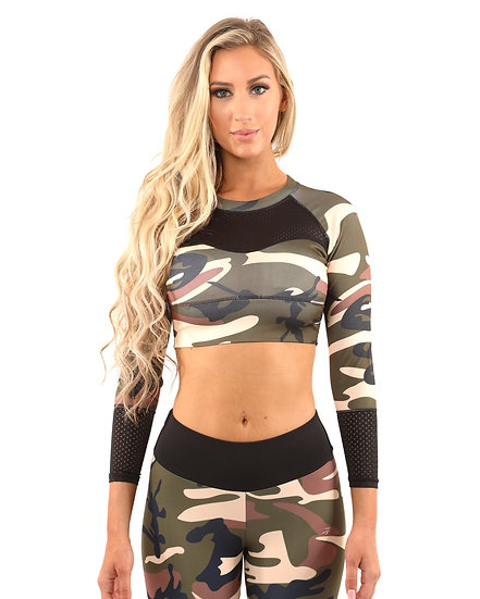 Womens Virginia Camouflage Sports Top - Brown/Green