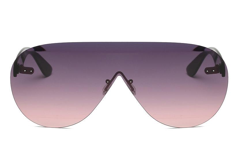 Akcessoryz Brees Rimless Aviator Sunglasses with Purple Lenses
