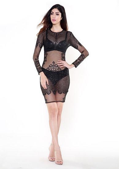 Women's Black See Thru Dress - Festival Wear Party Dress