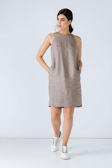 Women's Woven Linen Taupe Colour Sleeveless Sack Dress