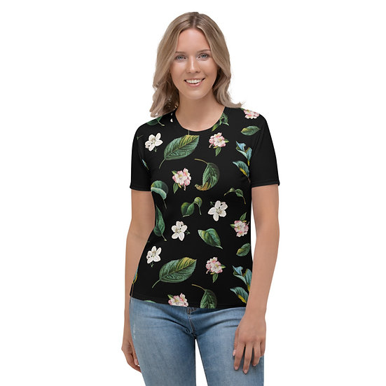 éanè Exclusive - Womens French Apple blossoms with Leaves Tee