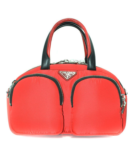 PRADA Italian Designer Top Handle Leather Bag in Red