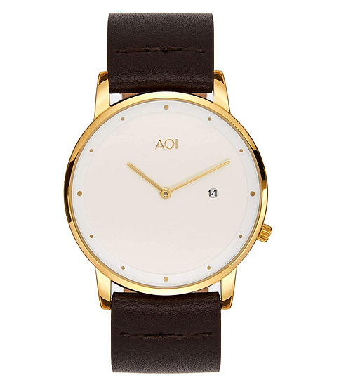 Womens OKAYAMA | 4.1 Watch in Gold With Premium Leather Band in Brown