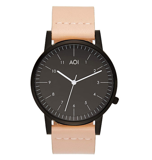 Womens KOBE | 1.5 Watch in Black With Premium Leather Band in Rose