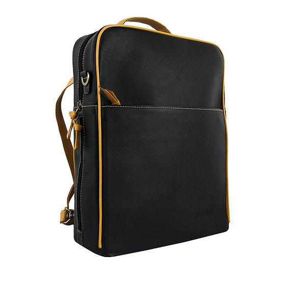 Women's Augusta Leather Backpack-Black/Goldenrod