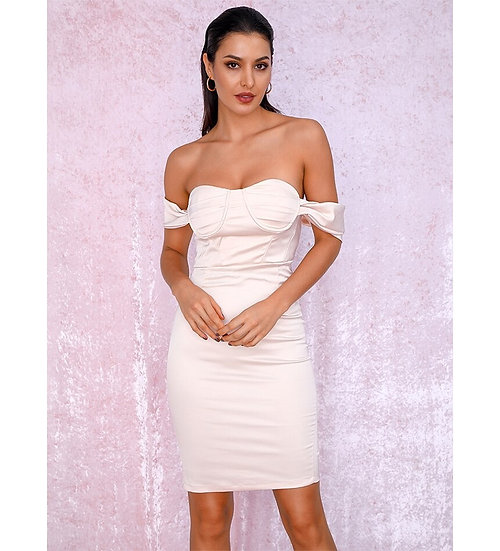Women's Ivory Off Shoulder Midi Dress Elegant, Cocktail Above Knee