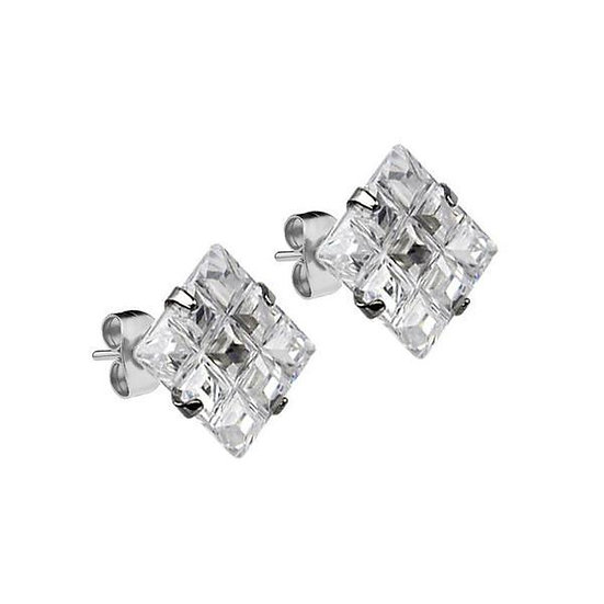 Mister Square Stud Earrings 6mm CZ crystal multi-faceted square grid setting