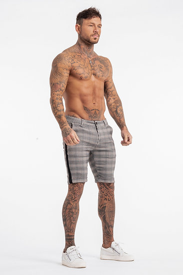 Men's Check Shorts With Black Stripe - Stone Grey