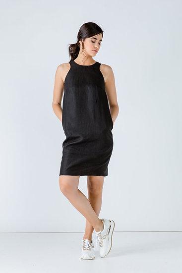 Women's Linen Black Colour Sleeveless Sack Dress