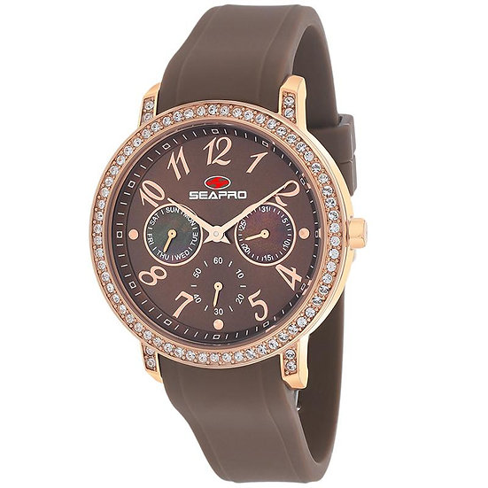 Women's SEAPRO Swell Watch in Rose Gold and Zircons Silicone Band