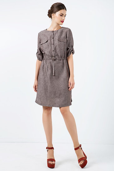 Women's Straight Brown Woven Linen Dress With Belt Detail