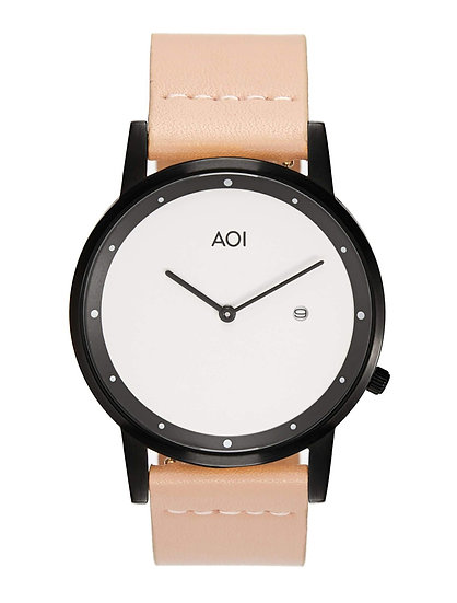 Womens OKAYAMA | 2.5 Watch in Black With Rose Leather Strap Japanese Quartz
