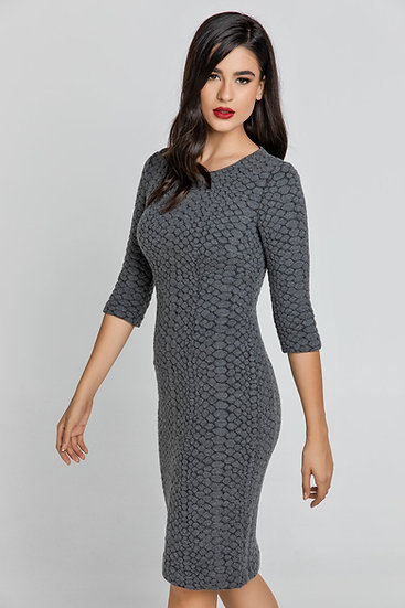 Womens Dark Grey Jacquard Dress by Conquista