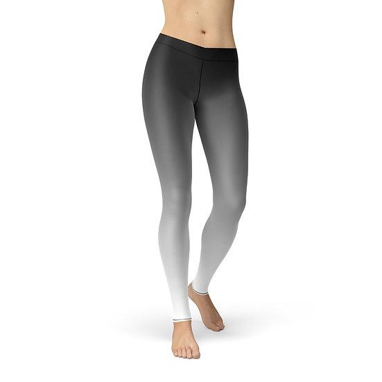 Women's Avery Black White Ombre Gradient Leggings