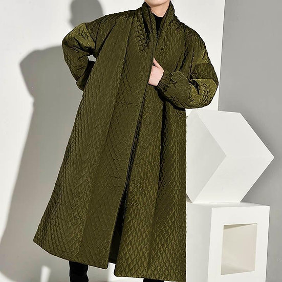 Women's Alvera Button Back Quilted Coat in Olive Green