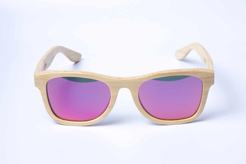 Panda MONROE Bamboo Sunglasses - Natural/Pink