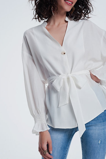 Cream Button Front Tea Blouse With Puff Sleeve