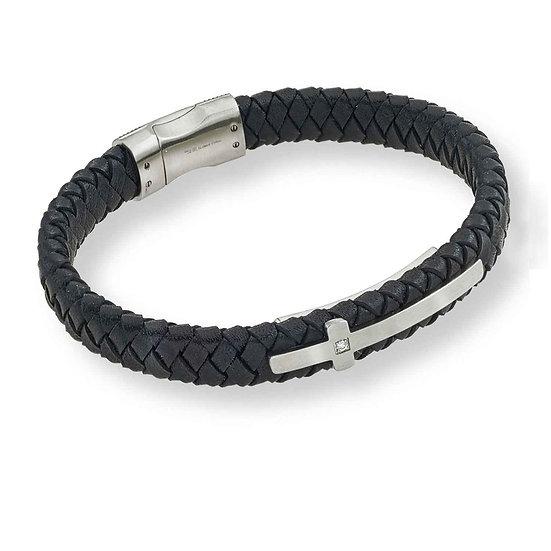 CROSS Men's Woven Leather Bracelet with Diamond Cross